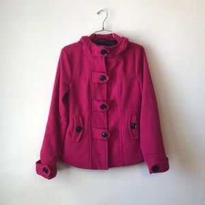 paper tee pink and black pea coat